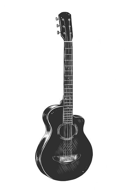 Ręcznie rysowane szkic gitary akustycznej w trybie monochromatycznym Premium Wektorów