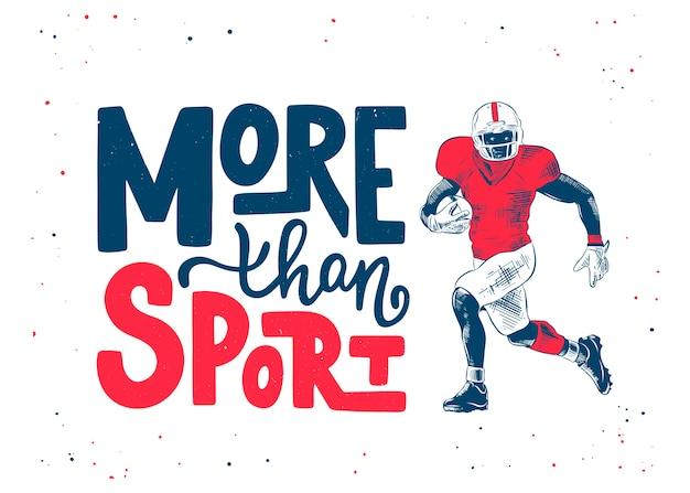 Ręcznie Rysowane Szkic Gracza Futbolu Amerykańskiego Premium Wektorów