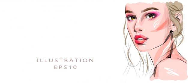Ręcznie Rysowane Szkic Piękna Młoda Kobieta Twarz. Stylowy Glamour Z Nadrukiem. Ilustracja Moda Do Projektowania Salon Piękności, Makijaż Artysty Wizytówki Tle. Premium Wektorów