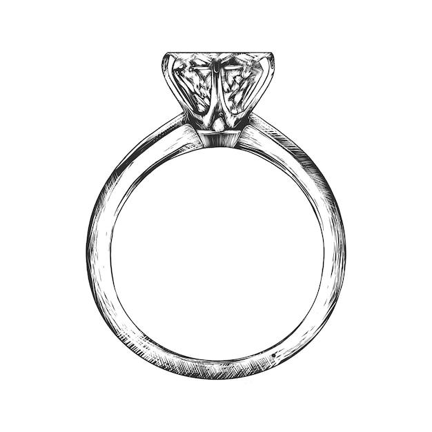 Ręcznie rysowane szkic pierścionek zaręczynowy w trybie monochromatycznym Premium Wektorów