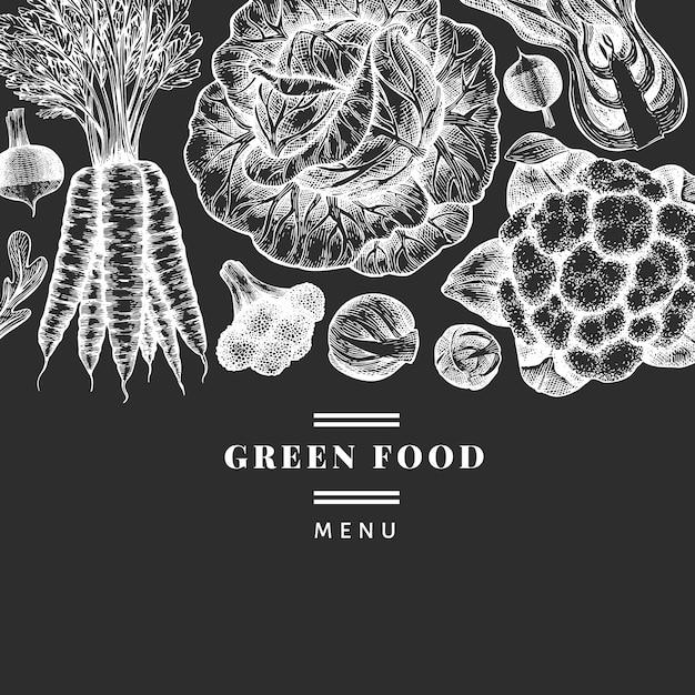 Ręcznie Rysowane Szkic Projektu Warzyw. Szablon Transparent Wektor Ekologicznej świeżej żywności. Retro Tło Warzyw. Ilustracje Botaniczne W Stylu Grawerowanym Na Tablicy Kredowej. Premium Wektorów