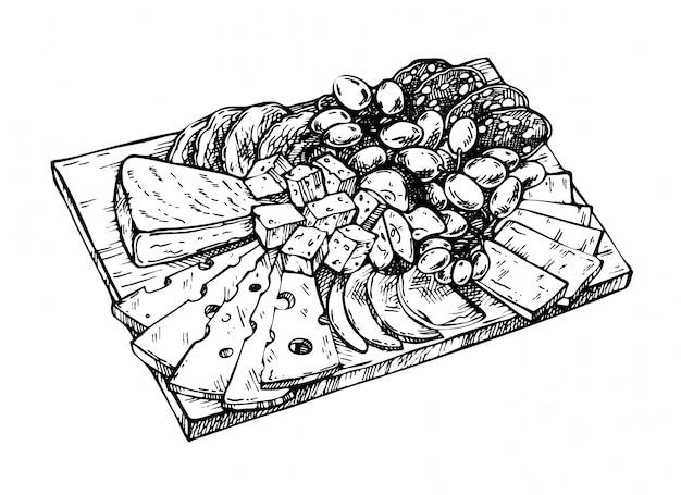 Ręcznie Rysowane Szkic Sera, Mięsa, Winogron, Jabłek, Salami I Wieprzowiny Na Drewnianej Desce. Serowy Produkt Mleczny. Grawerowany Styl Premium Wektorów