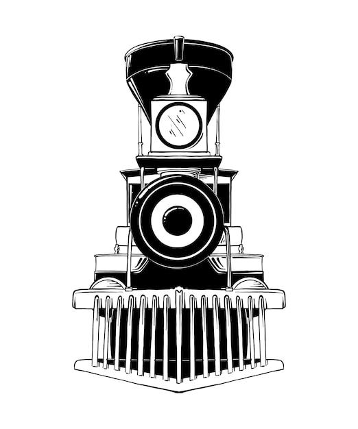 Ręcznie rysowane szkic starej lokomotywy Premium Wektorów