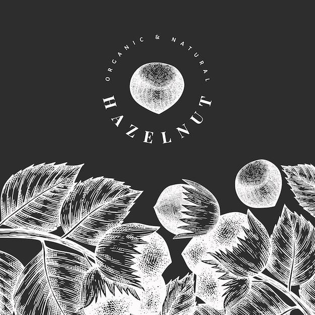 Ręcznie Rysowane Szkic Szablonu Orzecha Laskowego. Ilustracja żywności Ekologicznej Na Tablicy Kredowej. Ilustracja Rocznika Nakrętki. Tło Botaniczne W Stylu Grawerowanym. Premium Wektorów