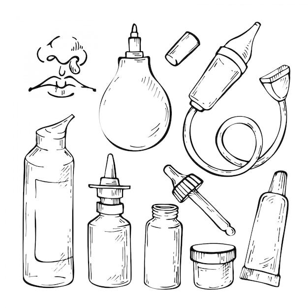 Ręcznie rysowane szkic zestaw leków na przeziębienie, aspirator, krople do nosa i spray do nosa. Premium Wektorów