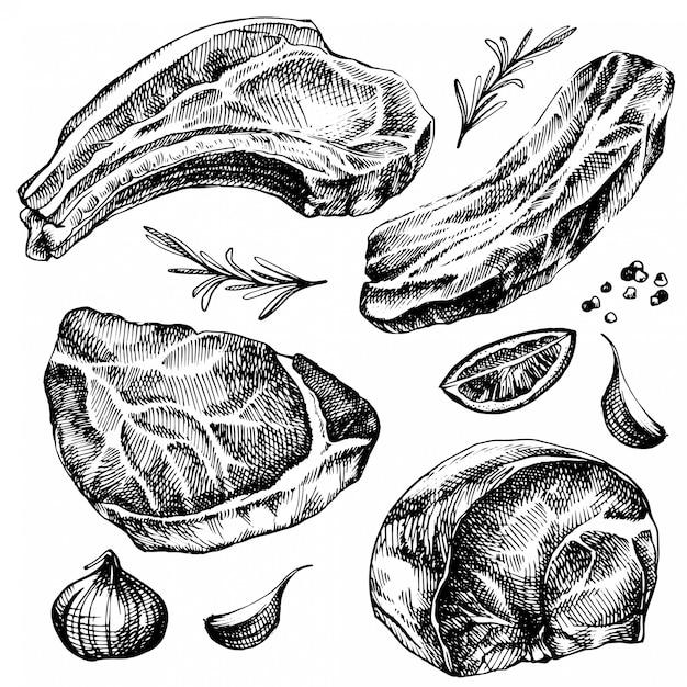 Ręcznie Rysowane Szkic Zestawu Mięsnego. Szczegółowa Ilustracja Jedzenie Atramentem. Rysunek Mięsa Stek Z Pieprzem I Rozmarynem, Cytryną, Czosnkiem. Premium Wektorów