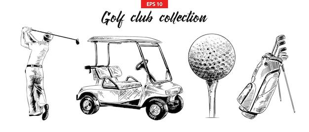 Ręcznie rysowane szkic zestawu obiektów golfowych Premium Wektorów