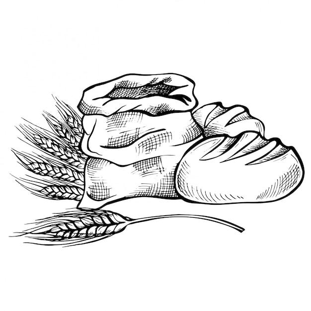 Ręcznie rysowane szkic żywności i chleb doodle. worek z całą mąką z pszenicą uszną. Premium Wektorów