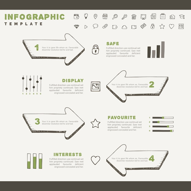 Ręcznie Rysowane Szkice Z Elementami Infographic Darmowych Wektorów