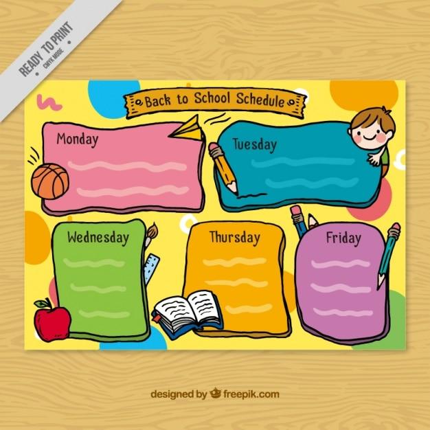 Ręcznie rysowane szkoły harmonogram z elementami Darmowych Wektorów