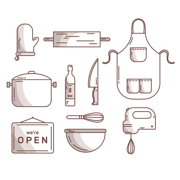 Ręcznie Rysowane Sztućce I Akcesoria Kuchenne Darmowych Wektorów