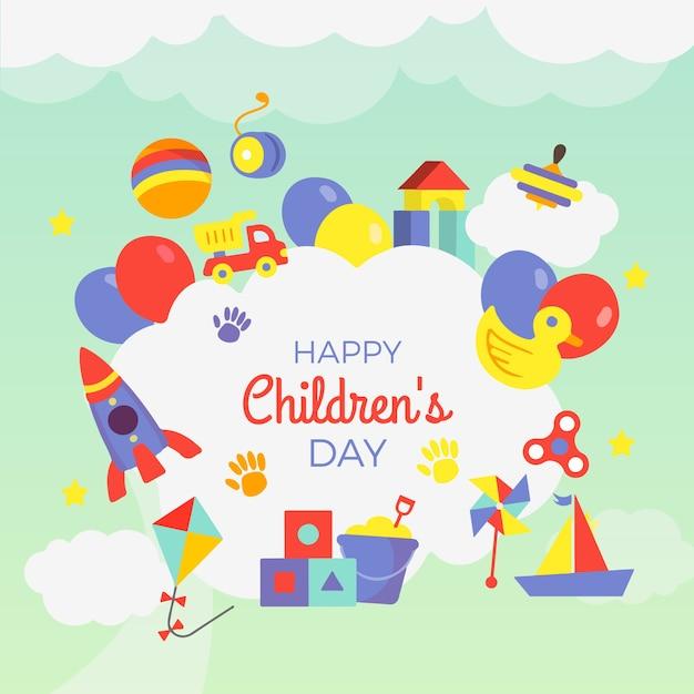 Ręcznie rysowane tapety dzień dziecka Darmowych Wektorów