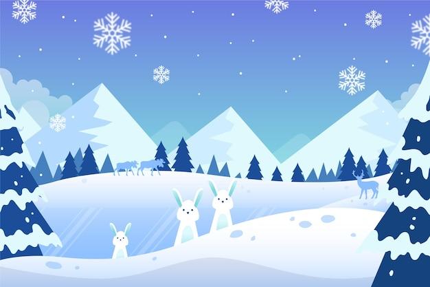 Ręcznie Rysowane Tapety Zimowy Krajobraz Premium Wektorów