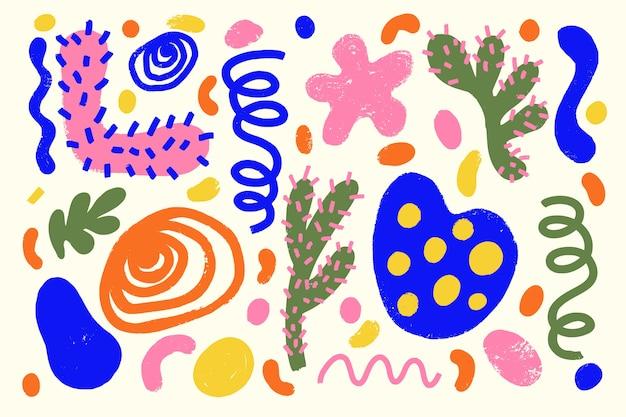 Ręcznie Rysowane Tła Abstrakcyjne Kształty Organiczne Darmowych Wektorów
