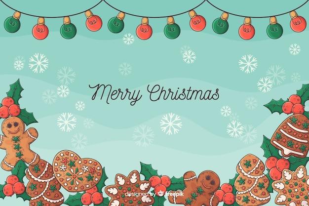 Ręcznie Rysowane Tła Boże Narodzenie Darmowych Wektorów