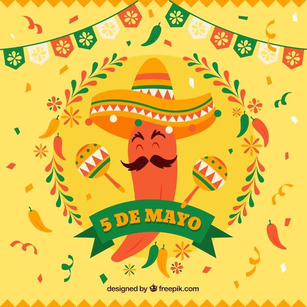Ręcznie rysowane tła cinco de mayo Darmowych Wektorów