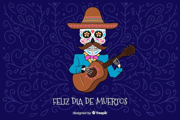 Ręcznie Rysowane Tła Dia De Muertos Premium Wektorów