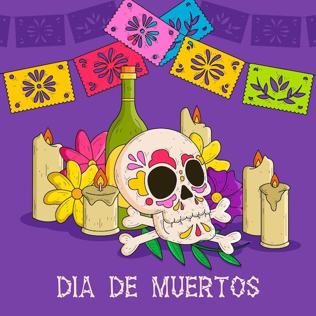 Ręcznie Rysowane Tła Dia De Muertos Darmowych Wektorów