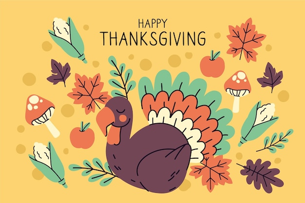 Ręcznie Rysowane Tła Dziękczynienia Darmowych Wektorów