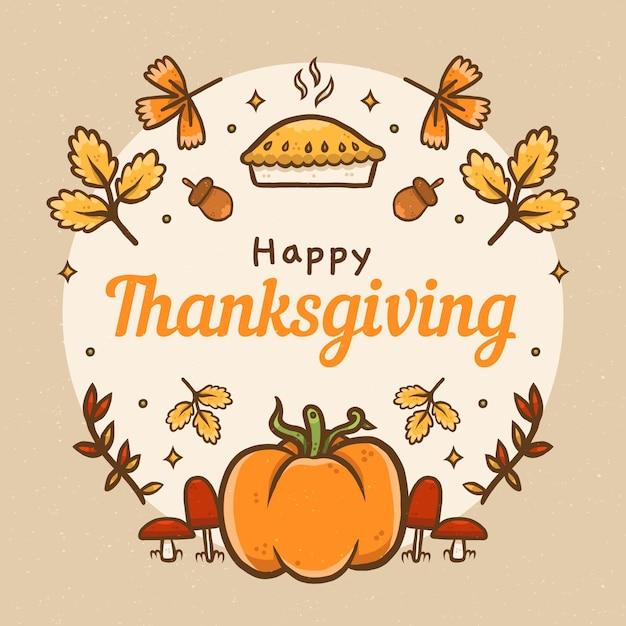 Ręcznie Rysowane Tła Dziękczynienia Premium Wektorów