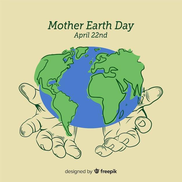 Ręcznie Rysowane Tła Dzień Matki Ziemi Darmowych Wektorów