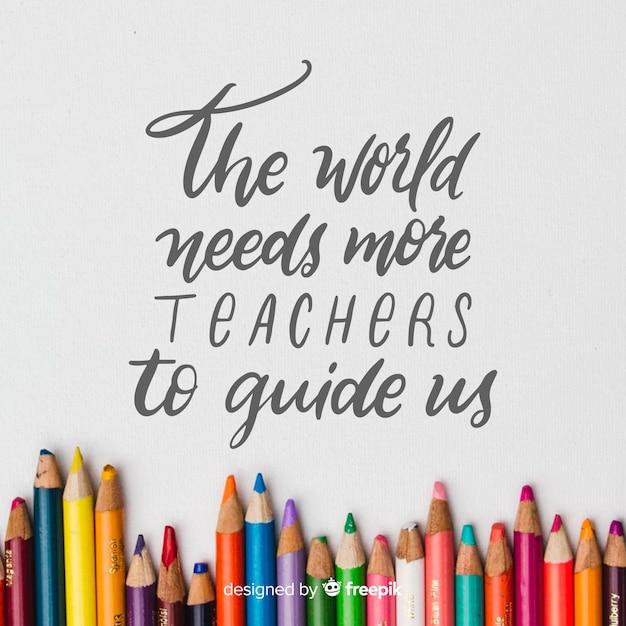 Ręcznie rysowane tła dzień nauczyciela świata Darmowych Wektorów
