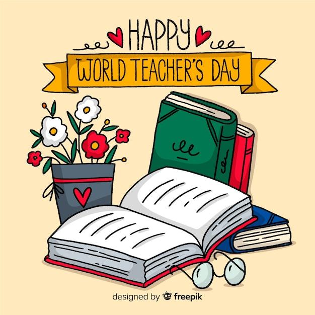 Ręcznie Rysowane Tła Dzień Nauczycieli Premium Wektorów