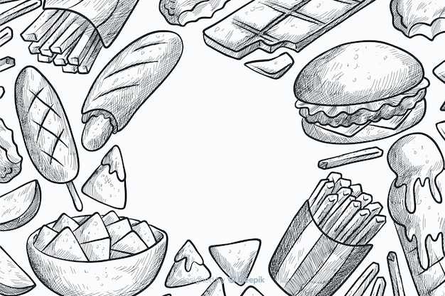 Ręcznie rysowane tła fast food Darmowych Wektorów