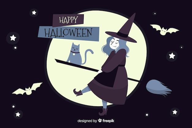 Ręcznie rysowane tła halloween z czarownicą na miotle Darmowych Wektorów