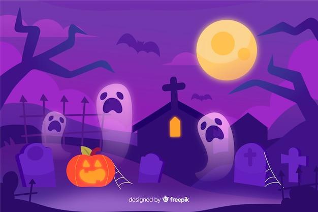 Ręcznie rysowane tła halloween Darmowych Wektorów