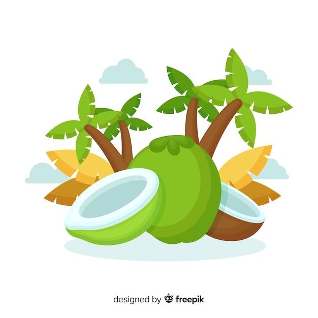 Ręcznie Rysowane Tła Kokosowe Darmowych Wektorów