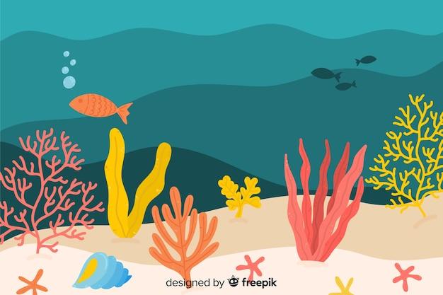 Ręcznie rysowane tła koralowców Darmowych Wektorów