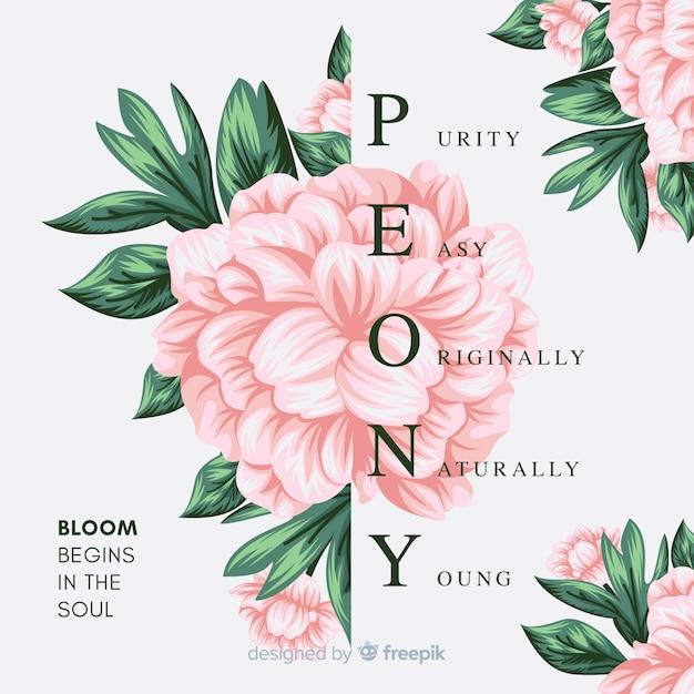 Ręcznie rysowane tła kwiatu z hasłem Darmowych Wektorów