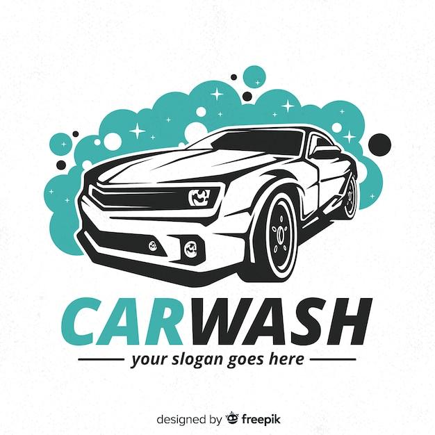 Ręcznie Rysowane Tła Logo Myjni Samochodowej Premium Wektorów