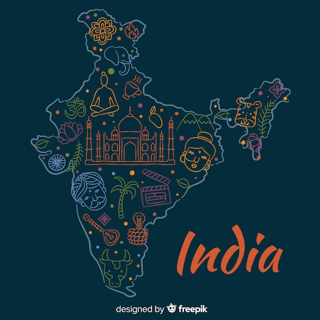 Ręcznie Rysowane Tła Mapy Indii Darmowych Wektorów