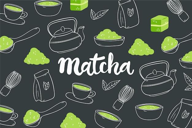Ręcznie Rysowane Tła Matcha Herbaty Premium Wektorów