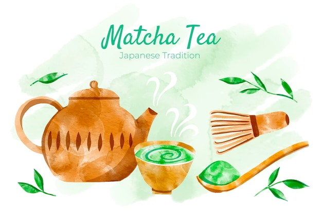 Ręcznie Rysowane Tła Matcha Herbaty Darmowych Wektorów