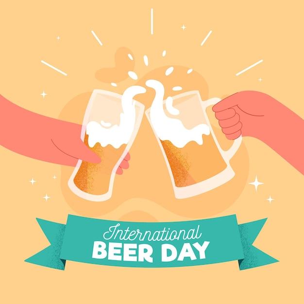 Ręcznie Rysowane Tła Międzynarodowego Dnia Piwa Darmowych Wektorów