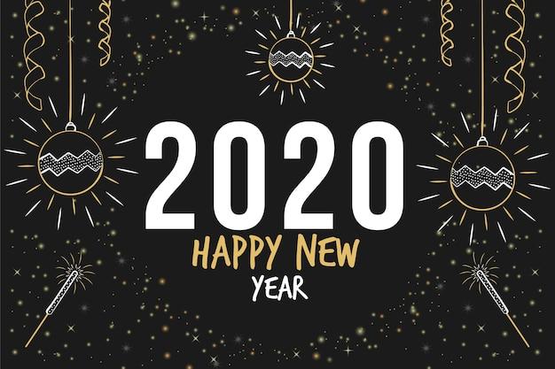 Ręcznie rysowane tła nowego roku 2020 Darmowych Wektorów