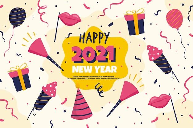 Ręcznie Rysowane Tła Nowego Roku 2021 Darmowych Wektorów