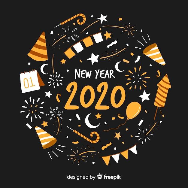 Ręcznie rysowane tła nowego roku Darmowych Wektorów