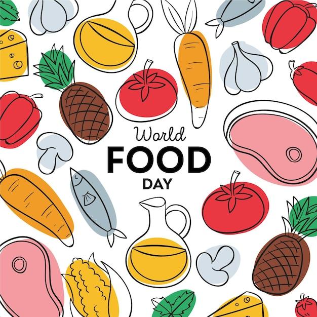 Ręcznie Rysowane Tła światowego Dnia żywności Premium Wektorów