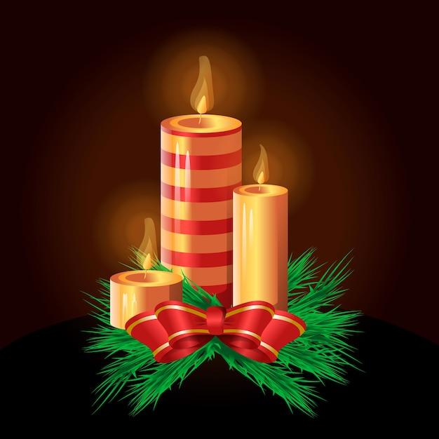 Ręcznie rysowane tła świeca boże narodzenie Darmowych Wektorów