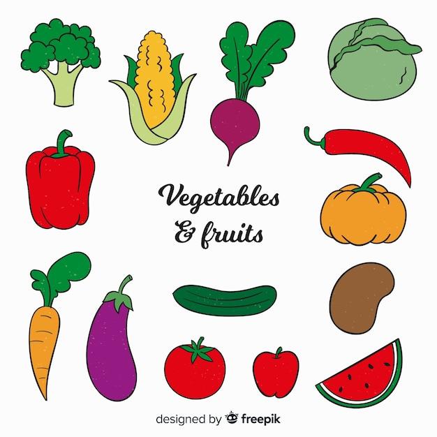 Ręcznie Rysowane Tła Warzyw I Owoców Darmowych Wektorów