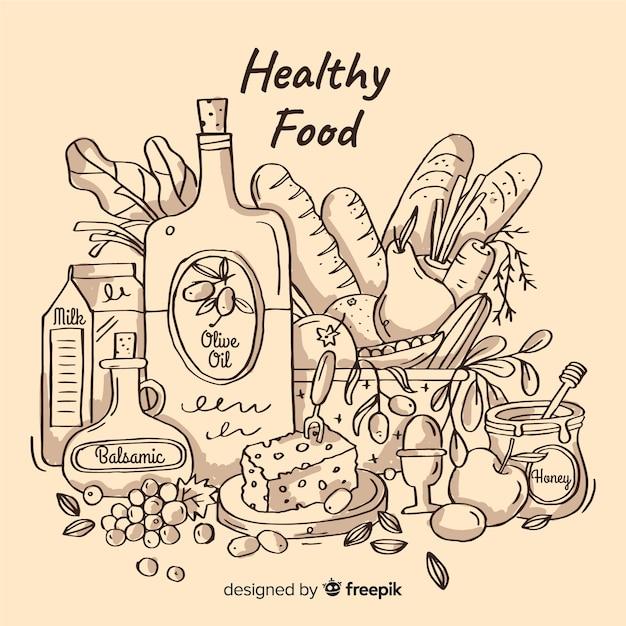 Ręcznie rysowane tła zdrowej żywności Darmowych Wektorów