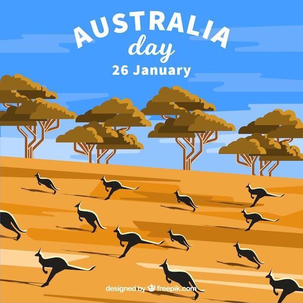 Ręcznie Rysowane Tło Australia Dzień Premium Wektorów