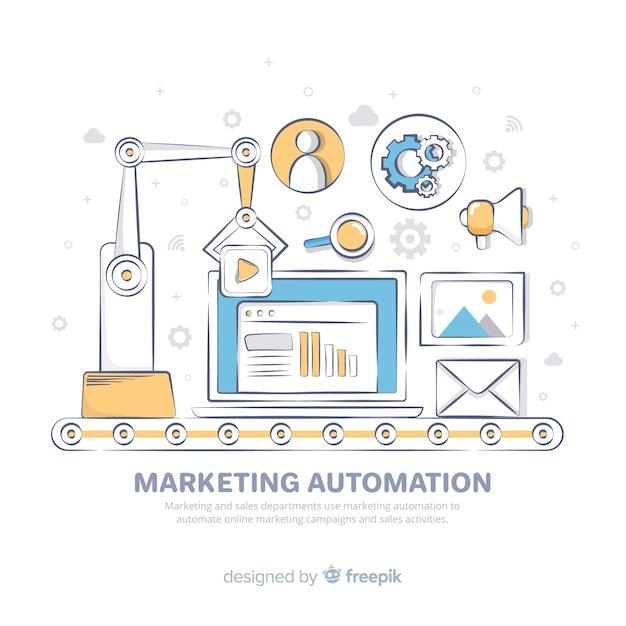 Ręcznie Rysowane Tło Automatyzacji Marketingu Darmowych Wektorów