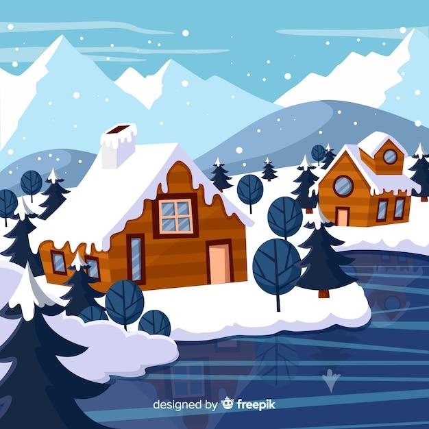 Ręcznie rysowane tło krajobraz zimowy Darmowych Wektorów