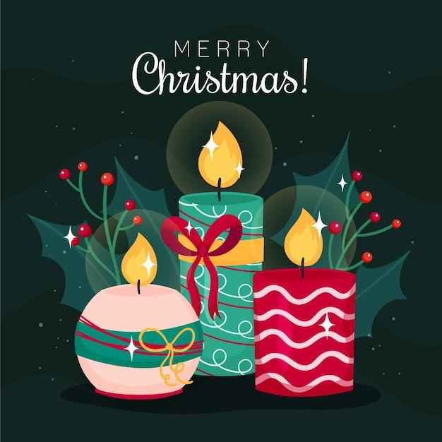 Ręcznie Rysowane Tło świeca Bożego Narodzenia Darmowych Wektorów