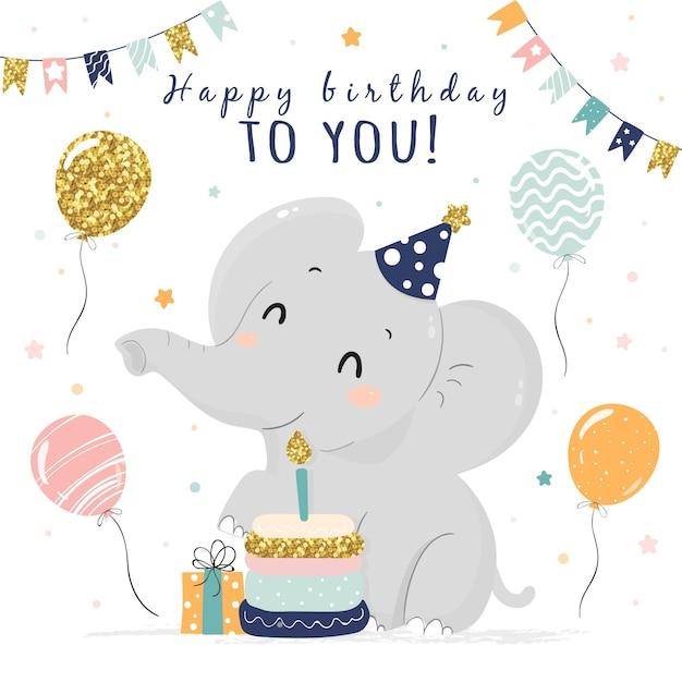 Ręcznie Rysowane Tło Urodziny Ze Słoniem Darmowych Wektorów